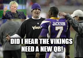 Vikings New QB Quarterback!   |  DID I HEAR THE VIKINGS NEED A NEW QB! | image tagged in brett favre,tarvaris jackson,minnesota vikings,quarterback,injury | made w/ Imgflip meme maker
