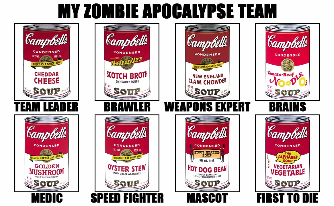 Team Campbell's | image tagged in memes,my zombie apocalypse team v2,campbell,soup,andy warhol,modern art | made w/ Imgflip meme maker