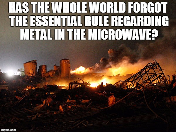 HAS THE WHOLE WORLD FORGOT THE ESSENTIAL RULE REGARDING METAL IN THE MICROWAVE? | made w/ Imgflip meme maker