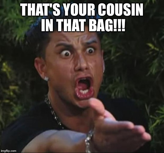 Pauly | THAT'S YOUR COUSIN IN THAT BAG!!! | image tagged in pauly | made w/ Imgflip meme maker