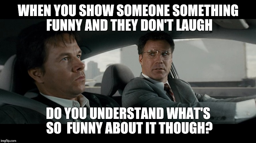 Having a weird sense of humour |  WHEN YOU SHOW SOMEONE SOMETHING FUNNY AND THEY DON'T LAUGH; DO YOU UNDERSTAND WHAT'S SO  FUNNY ABOUT IT THOUGH? | image tagged in funny,awkward,the other guys,fbi | made w/ Imgflip meme maker