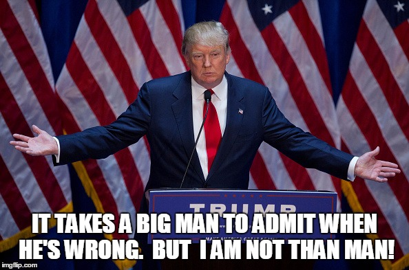 Donald Trump | IT TAKES A BIG MAN TO ADMIT WHEN HE'S WRONG.  BUT  I AM NOT THAN MAN! | image tagged in donald trump | made w/ Imgflip meme maker