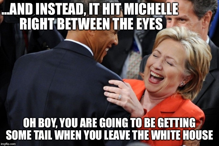 ...AND INSTEAD, IT HIT MICHELLE RIGHT BETWEEN THE EYES OH BOY, YOU ARE GOING TO BE GETTING SOME TAIL WHEN YOU LEAVE THE WHITE HOUSE | made w/ Imgflip meme maker