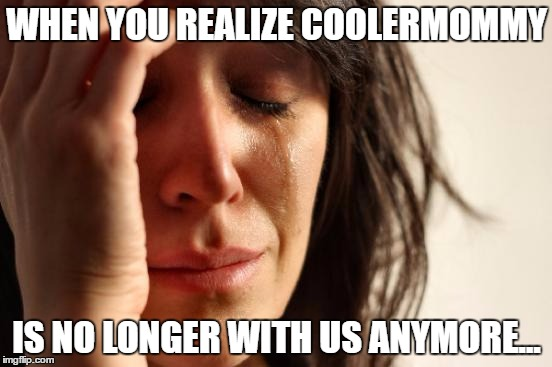 What Happened To Her?!? | WHEN YOU REALIZE COOLERMOMMY IS NO LONGER WITH US ANYMORE... | image tagged in memes,first world problems,coolermommy,sad,no longer with us,why | made w/ Imgflip meme maker