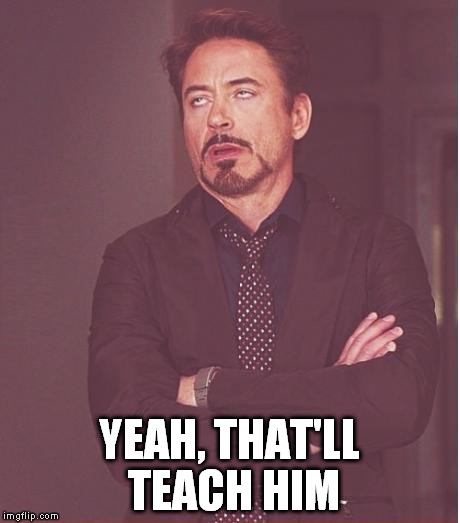 Face You Make Robert Downey Jr Meme | YEAH, THAT'LL TEACH HIM | image tagged in memes,face you make robert downey jr | made w/ Imgflip meme maker