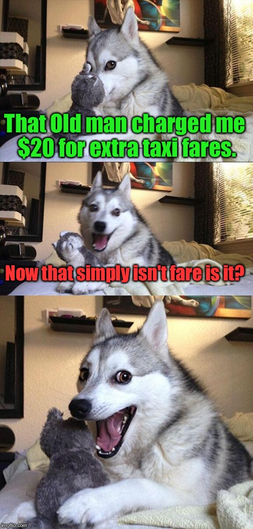 The World Just Isn't Fare. | That Old man charged me $20 for extra taxi fares. Now that simply isn't fare is it? | image tagged in memes,bad pun dog,unfair,funny,charges | made w/ Imgflip meme maker