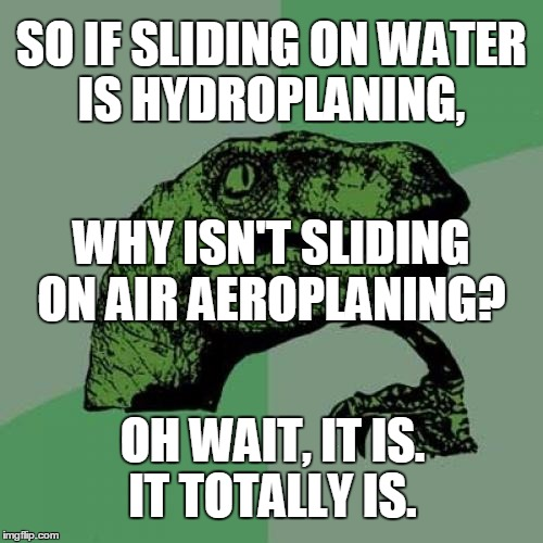 Philosoraptor Meme | SO IF SLIDING ON WATER IS HYDROPLANING, OH WAIT, IT IS. IT TOTALLY IS. WHY ISN'T SLIDING ON AIR AEROPLANING? | image tagged in memes,philosoraptor | made w/ Imgflip meme maker