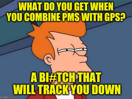 Futurama Fry Meme | WHAT DO YOU GET WHEN YOU COMBINE PMS WITH GPS? A BI#TCH THAT WILL TRACK YOU DOWN | image tagged in memes,futurama fry | made w/ Imgflip meme maker