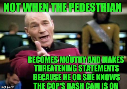 Picard Wtf Meme | NOT WHEN THE PEDESTRIAN BECOMES MOUTHY AND MAKES THREATENING STATEMENTS BECAUSE HE OR SHE KNOWS THE COP'S DASH CAM IS ON | image tagged in memes,picard wtf | made w/ Imgflip meme maker