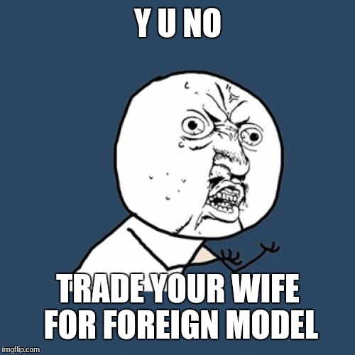 Y U No Meme | Y U NO TRADE YOUR WIFE FOR FOREIGN MODEL | image tagged in memes,y u no | made w/ Imgflip meme maker