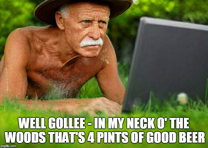 WELL GOLLEE - IN MY NECK O' THE WOODS THAT'S 4 PINTS OF GOOD BEER | made w/ Imgflip meme maker