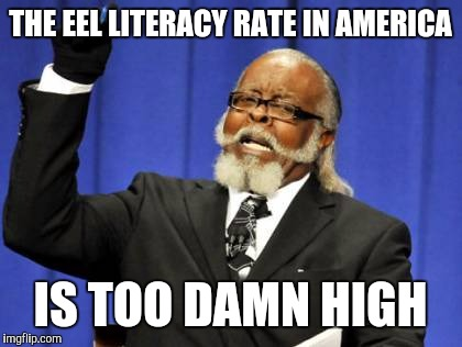 Too Damn High Meme | THE EEL LITERACY RATE IN AMERICA IS TOO DAMN HIGH | image tagged in memes,too damn high | made w/ Imgflip meme maker