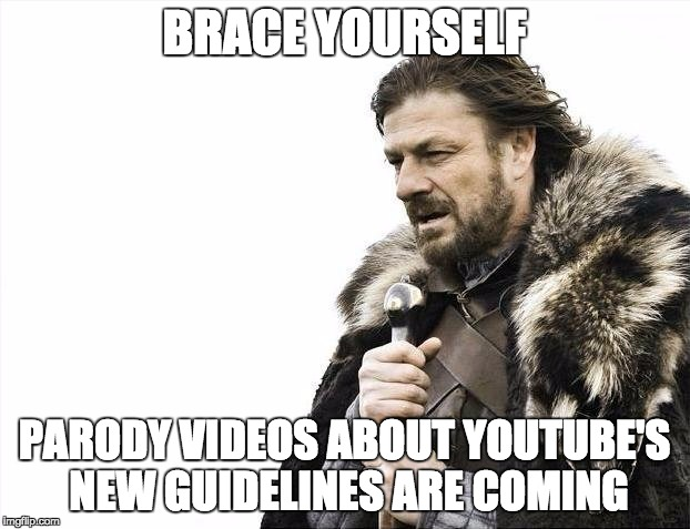 I guess ill stop browsing rvideo for the next week imgflip brace yourselves x is coming meme brace yourself parody videos about youtubes new guidelines are solutioingenieria Images