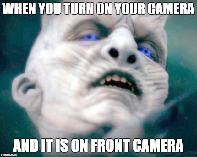 Front Camera | WHEN YOU TURN ON YOUR CAMERA AND IT IS ON FRONT CAMERA | image tagged in white walker,front camera,camera,got,game of thrones,memes | made w/ Imgflip meme maker