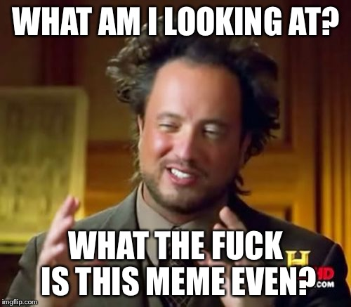 Ancient Aliens Meme | WHAT AM I LOOKING AT? WHAT THE F**K IS THIS MEME EVEN? | image tagged in memes,ancient aliens | made w/ Imgflip meme maker