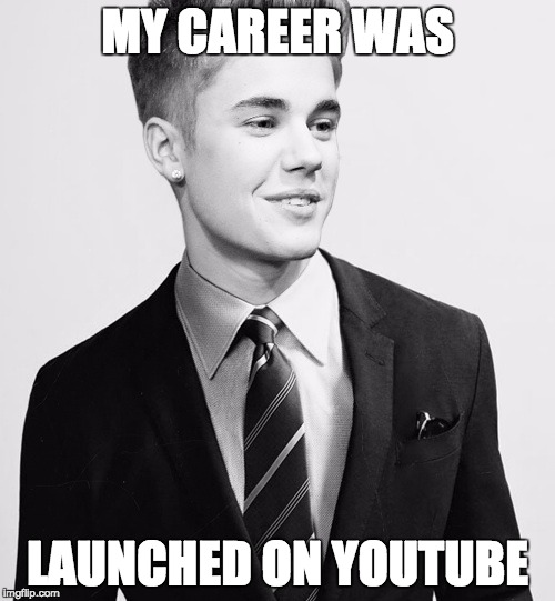 Justin Bieber Suit | MY CAREER WAS LAUNCHED ON YOUTUBE | image tagged in memes,justin bieber suit | made w/ Imgflip meme maker