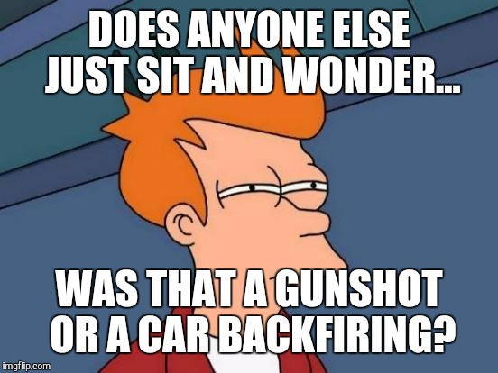 Futurama Fry Meme | DOES ANYONE ELSE JUST SIT AND WONDER... WAS THAT A GUNSHOT OR A CAR BACKFIRING? | image tagged in memes,futurama fry | made w/ Imgflip meme maker