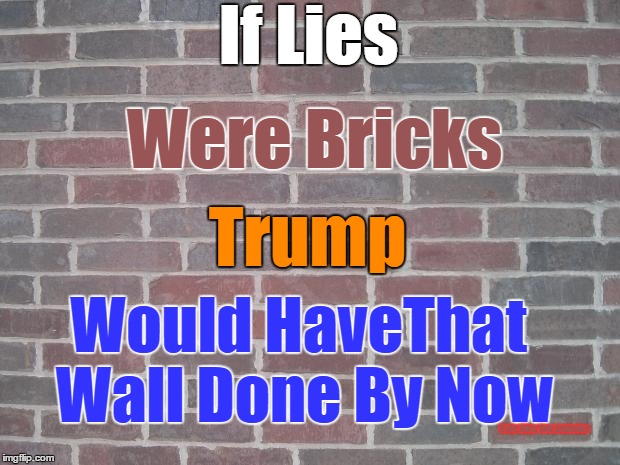 That Wall |  If Lies; Were Bricks; Trump; Would HaveThat Wall Done By Now; Vote Blue You Assholes | image tagged in donald trump,trump,wall,lies,brick,bullshit | made w/ Imgflip meme maker