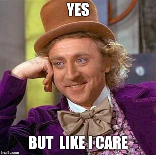 Creepy Condescending Wonka Meme | YES BUT  LIKE I CARE | image tagged in memes,creepy condescending wonka | made w/ Imgflip meme maker