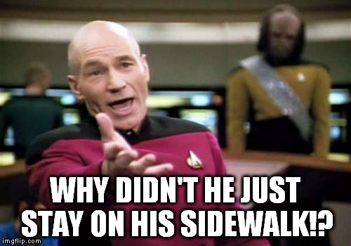 Picard Wtf Meme | WHY DIDN'T HE JUST STAY ON HIS SIDEWALK!? | image tagged in memes,picard wtf | made w/ Imgflip meme maker