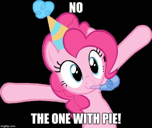 Pinkie partying | NO THE ONE WITH PIE! | image tagged in pinkie partying | made w/ Imgflip meme maker