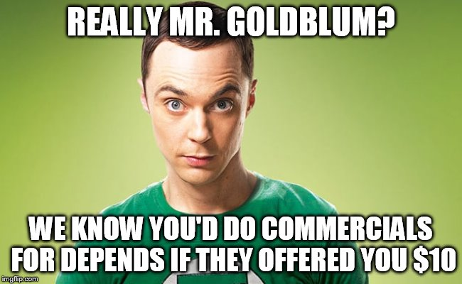 Sheldon - Really | REALLY MR. GOLDBLUM? WE KNOW YOU'D DO COMMERCIALS FOR DEPENDS IF THEY OFFERED YOU $10 | image tagged in sheldon - really | made w/ Imgflip meme maker