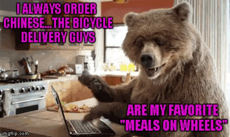 "If animals had our intelligence, I wonder how they would live their lives...and use our technology...or their own. | I ALWAYS ORDER CHINESE...THE BICYCLE DELIVERY GUYS ARE MY FAVORITE ""MEALS ON WHEELS"" 