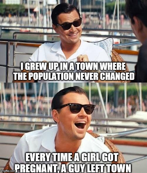 Leonardo Dicaprio Wolf Of Wall Street Meme | I GREW UP IN A TOWN WHERE THE POPULATION NEVER CHANGED EVERY TIME A GIRL GOT PREGNANT, A GUY LEFT TOWN | image tagged in memes,leonardo dicaprio wolf of wall street | made w/ Imgflip meme maker