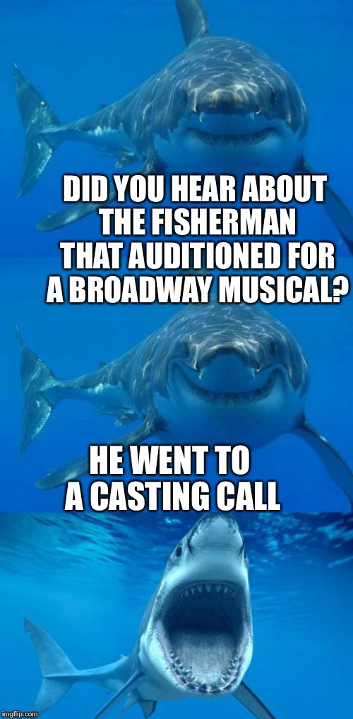 Bad shark audition | DID YOU HEAR ABOUT THE FISHERMAN THAT AUDITIONED FOR A BROADWAY MUSICAL? HE WENT TO A CASTING CALL | image tagged in bad shark pun,funny memes,bad pun,fisherman,acting,broadway | made w/ Imgflip meme maker