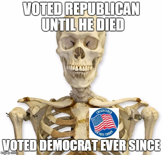 bob | VOTED REPUBLICAN UNTIL HE DIED VOTED DEMOCRAT EVER SINCE | image tagged in bob | made w/ Imgflip meme maker
