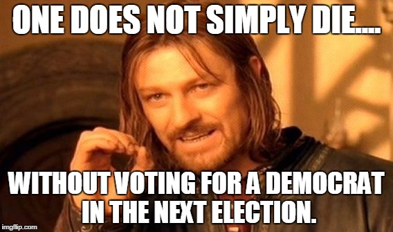 One Does Not Simply Meme | ONE DOES NOT SIMPLY DIE.... WITHOUT VOTING FOR A DEMOCRAT IN THE NEXT ELECTION. | image tagged in memes,one does not simply | made w/ Imgflip meme maker
