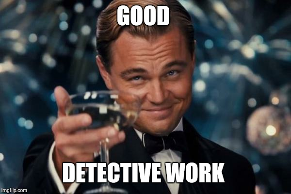 Leonardo Dicaprio Cheers Meme | GOOD DETECTIVE WORK | image tagged in memes,leonardo dicaprio cheers | made w/ Imgflip meme maker