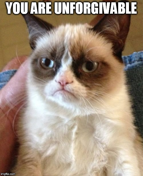 Grumpy Cat Meme | YOU ARE UNFORGIVABLE | image tagged in memes,grumpy cat | made w/ Imgflip meme maker