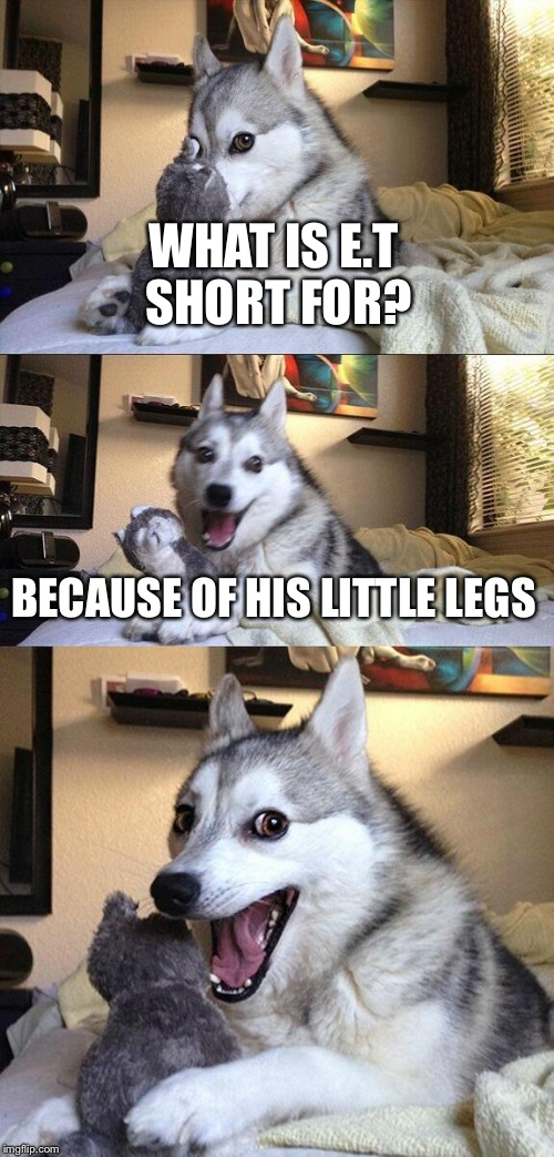 Bad Pun Dog Meme | WHAT IS E.T SHORT FOR? BECAUSE OF HIS LITTLE LEGS | image tagged in memes,bad pun dog | made w/ Imgflip meme maker