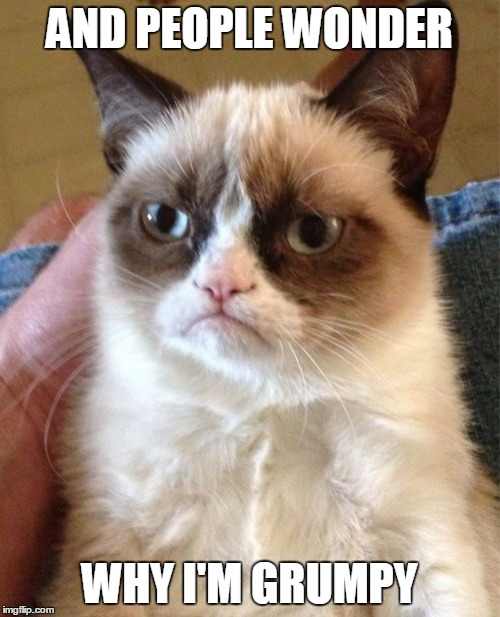 Grumpy Cat Meme | AND PEOPLE WONDER WHY I'M GRUMPY | image tagged in memes,grumpy cat | made w/ Imgflip meme maker