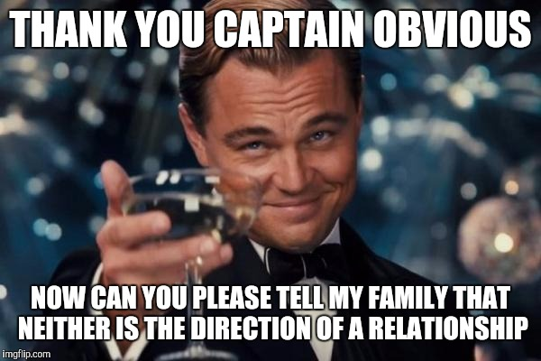 Leonardo Dicaprio Cheers Meme | THANK YOU CAPTAIN OBVIOUS NOW CAN YOU PLEASE TELL MY FAMILY THAT NEITHER IS THE DIRECTION OF A RELATIONSHIP | image tagged in memes,leonardo dicaprio cheers | made w/ Imgflip meme maker