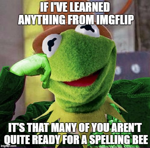 Condescending Meme War Champion Kermit | IF I'VE LEARNED ANYTHING FROM IMGFLIP IT'S THAT MANY OF YOU AREN'T QUITE READY FOR A SPELLING BEE | image tagged in condescending meme war champion kermit | made w/ Imgflip meme maker