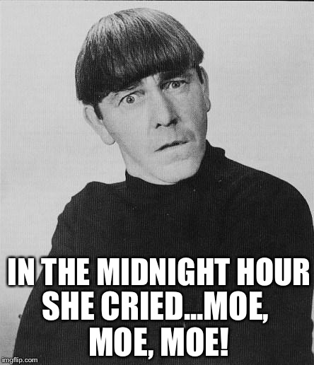 With a rebel yell... | IN THE MIDNIGHT HOUR SHE CRIED...MOE, MOE, MOE! | image tagged in moe,memes,billy idol,rebel yell | made w/ Imgflip meme maker