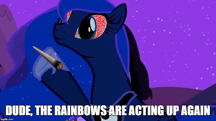 Stoned Luna | DUDE, THE RAINBOWS ARE ACTING UP AGAIN | image tagged in stoned luna | made w/ Imgflip meme maker