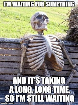 Literal Meme #11: Waiting Skeleton | I'M WAITING FOR SOMETHING AND IT'S TAKING A LONG, LONG TIME, SO I'M STILL WAITING | image tagged in memes,waiting skeleton,literal meme | made w/ Imgflip meme maker