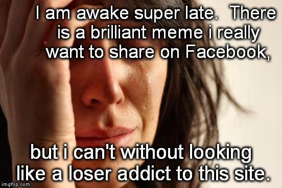 First World Problems Meme | I am awake super late.  There is a brilliant meme i really want to share on Facebook, but i can't without looking like a loser addict to thi | image tagged in memes,first world problems | made w/ Imgflip meme maker