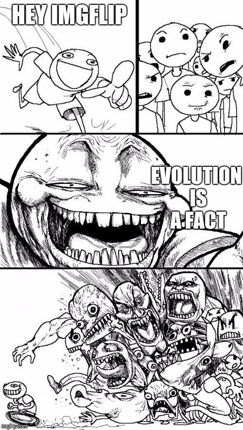 Hey Internet | HEY IMGFLIP EVOLUTION IS A FACT | image tagged in memes,hey internet | made w/ Imgflip meme maker