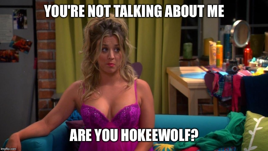 YOU'RE NOT TALKING ABOUT ME ARE YOU HOKEEWOLF? | image tagged in penny - lingerie | made w/ Imgflip meme maker