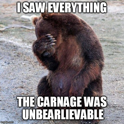 I SAW EVERYTHING THE CARNAGE WAS UNBEARLIEVABLE | made w/ Imgflip meme maker