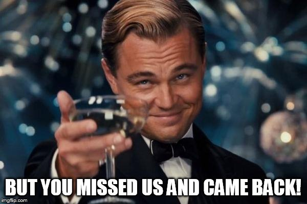 Leonardo Dicaprio Cheers Meme | BUT YOU MISSED US AND CAME BACK! | image tagged in memes,leonardo dicaprio cheers | made w/ Imgflip meme maker