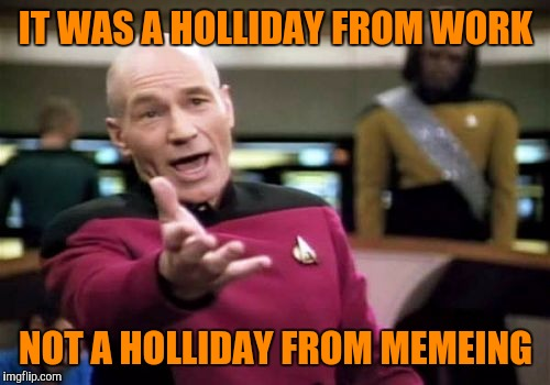 Picard Wtf Meme | IT WAS A HOLLIDAY FROM WORK NOT A HOLLIDAY FROM MEMEING | image tagged in memes,picard wtf | made w/ Imgflip meme maker