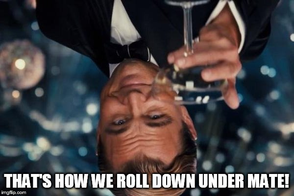 Leonardo Dicaprio Cheers Meme | THAT'S HOW WE ROLL DOWN UNDER MATE! | image tagged in memes,leonardo dicaprio cheers | made w/ Imgflip meme maker
