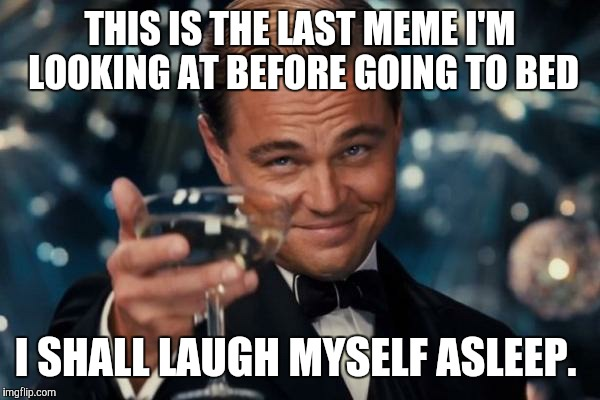Leonardo Dicaprio Cheers Meme | THIS IS THE LAST MEME I'M LOOKING AT BEFORE GOING TO BED I SHALL LAUGH MYSELF ASLEEP. | image tagged in memes,leonardo dicaprio cheers | made w/ Imgflip meme maker