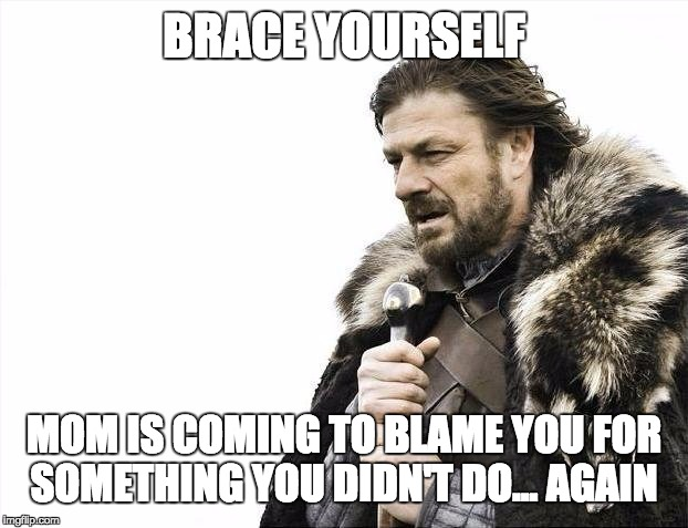Brace Yourselves X is Coming Meme | BRACE YOURSELF MOM IS COMING TO BLAME YOU FOR SOMETHING YOU DIDN'T DO... AGAIN | image tagged in memes,brace yourselves x is coming | made w/ Imgflip meme maker