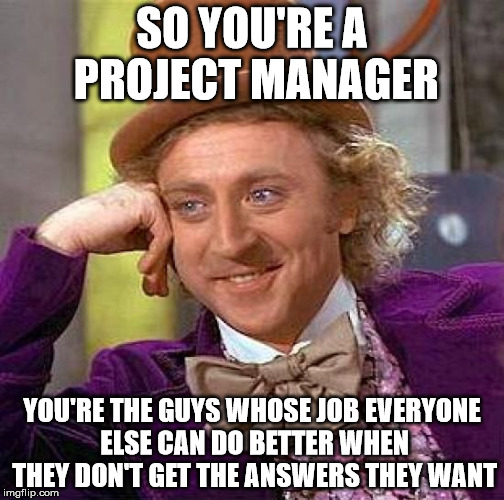 Creepy Condescending Wonka Meme | SO YOU'RE A PROJECT MANAGER YOU'RE THE GUYS WHOSE JOB EVERYONE ELSE CAN DO BETTER WHEN THEY DON'T GET THE ANSWERS THEY WANT | image tagged in memes,willy wonka,project manager | made w/ Imgflip meme maker